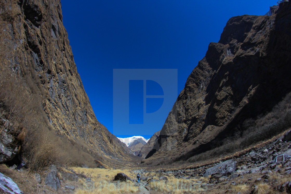 """A lone trekker in a big valley"" stock image"